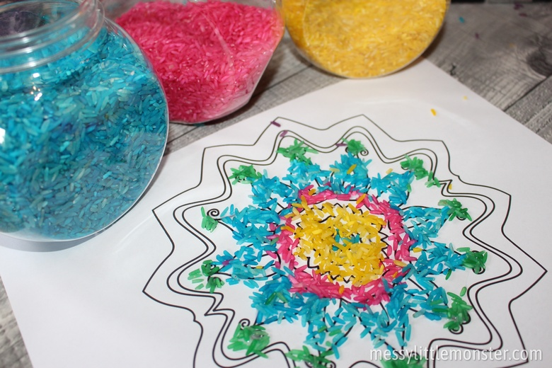 Rangoli patterns craft for kids