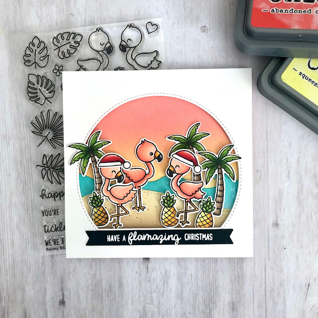 Sunny Studio Stamps: Stitched Semi-Circle Dies Fabulous Flamingos Catch A Wave Dies Tropical Scenes Christmas Card by Tammy Stark