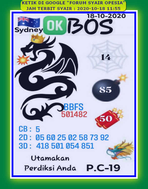 Kode syair Sydney Minggu 18 Oktober 2020 51
