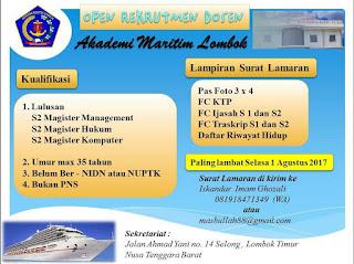 lowongan dosen Akademi Maritim Lombok