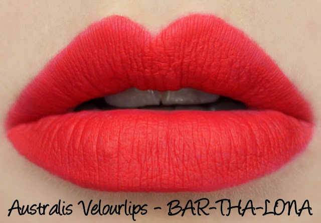 Australis Velourlips Matte Lip Cream - BAR-THA-LONA Swatches & Review