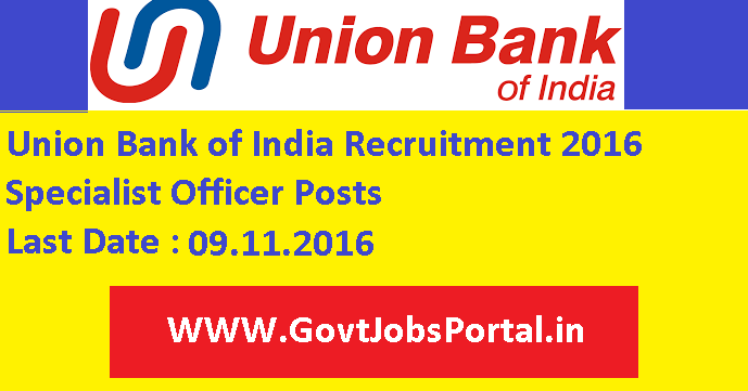 Union Bank Of India Recruitment 2016 For Specialist