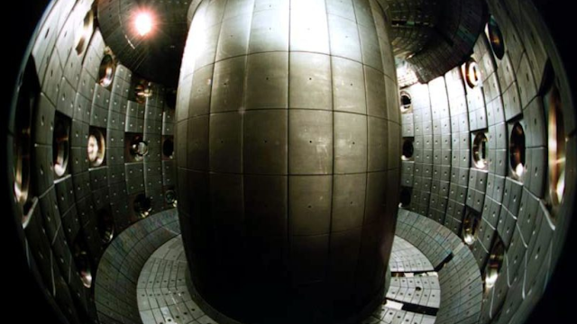 The reaction chamber of the TCV, an experimental tokamak fusion reactor at École polytechnique fédérale de Lausanne, Lausanne, Switzerland.