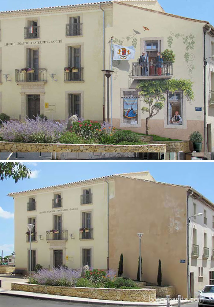 10+ Incredible Before & After Street Art Transformations That'll Make You Say Wow - Mairie D'adissan, Adissan, France