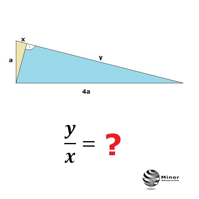 W trójkącie prostokątnym jedna przyprostokątna jest 4 razy większa od drugiej. Wykaż, że wysokość opuszczona na przeciwprostokątna dzieli ją na odcinki, z których jeden jest 16 razy większy od drugiego.