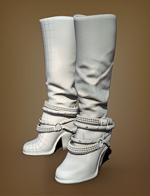Diamond & Studs Boots for Genesis 3 Female(s)
