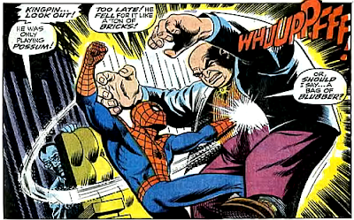 Amazing Spider-Man #69, john romita, Jim mooney, revealing that he was only playing possum, spider-man punches the kingpin in the stomach