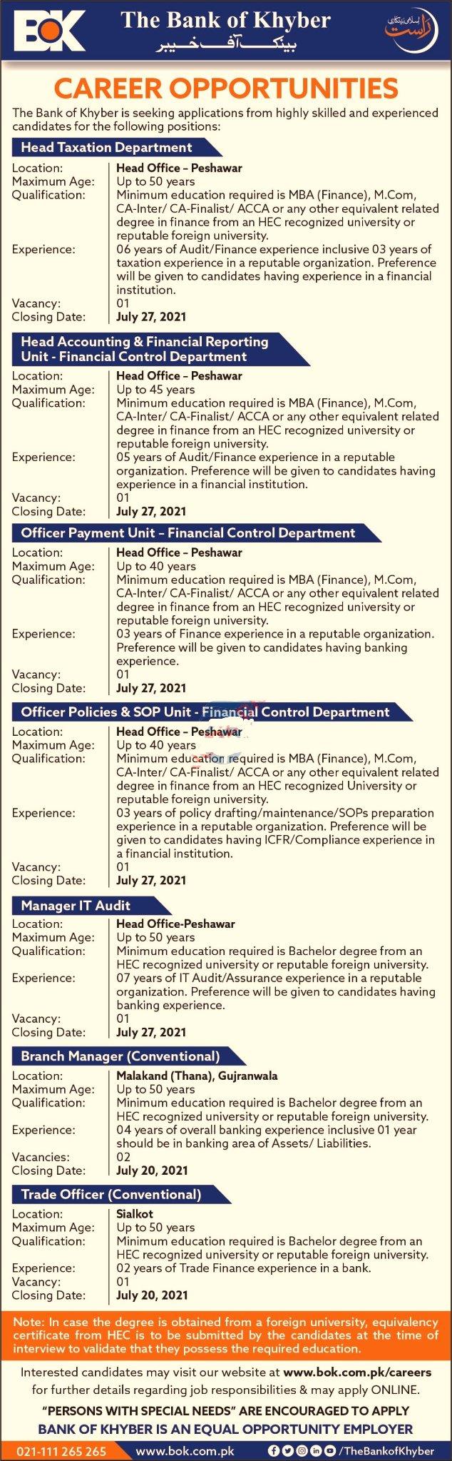 bank of khyber jobs, latest jobs kpk, latest jobs, latest jobs peshawar,  latest news, BOK, jobs in bank of khyber, jobs near me