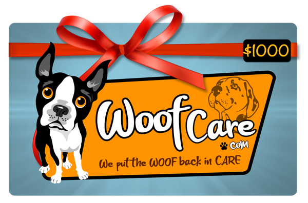Woof Care is giving away up to $1000 in WoofCare.Com gift cards that can be used by dog owners for the care, walking and pet sitting of their furry friends.
