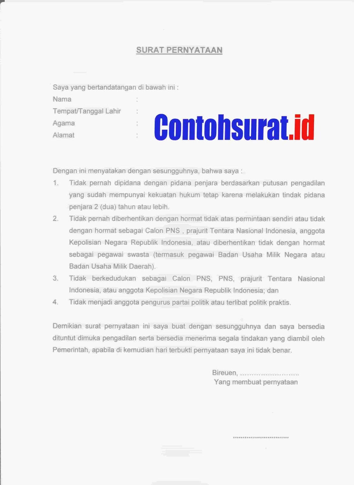 Contoh Surat Pernyataan Berkelakuan Baik Untuk Cpns