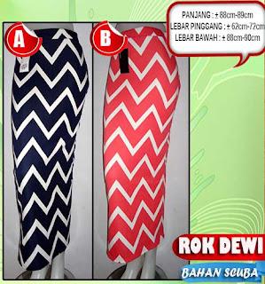 Jual murah rok model span panjang zigzag bahan scuba kualitas bagus untuk tampil elegan dan cantik