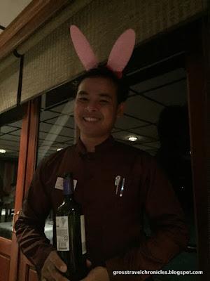 server wearing bunny ears