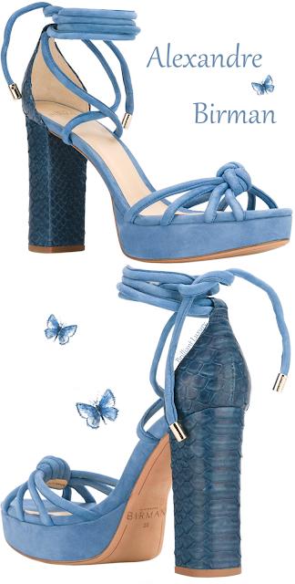 Alexandre Birman blue platform ankle-wrap crocodie sandal #brilliantluxury
