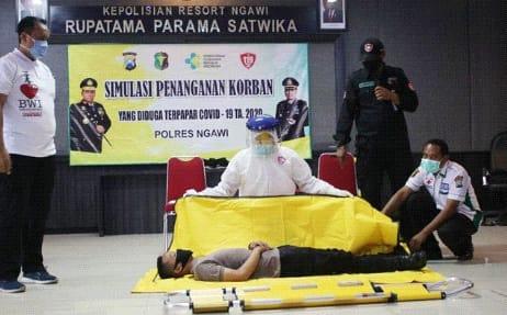 Polres Ngawi Adakan Simulasi Penanganan Korban Covid-19