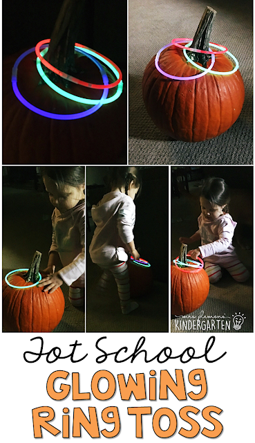 Learning is more fun when it involves movement! Practice throwing with this glowing pumpkin ring toss gross motor game. Great for tot school, preschool, or even kindergarten!