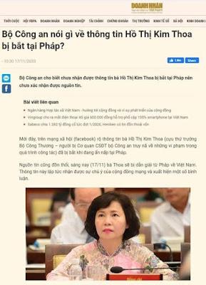 Hồ Thị Kim Thoa bị bắt tại Pháp?