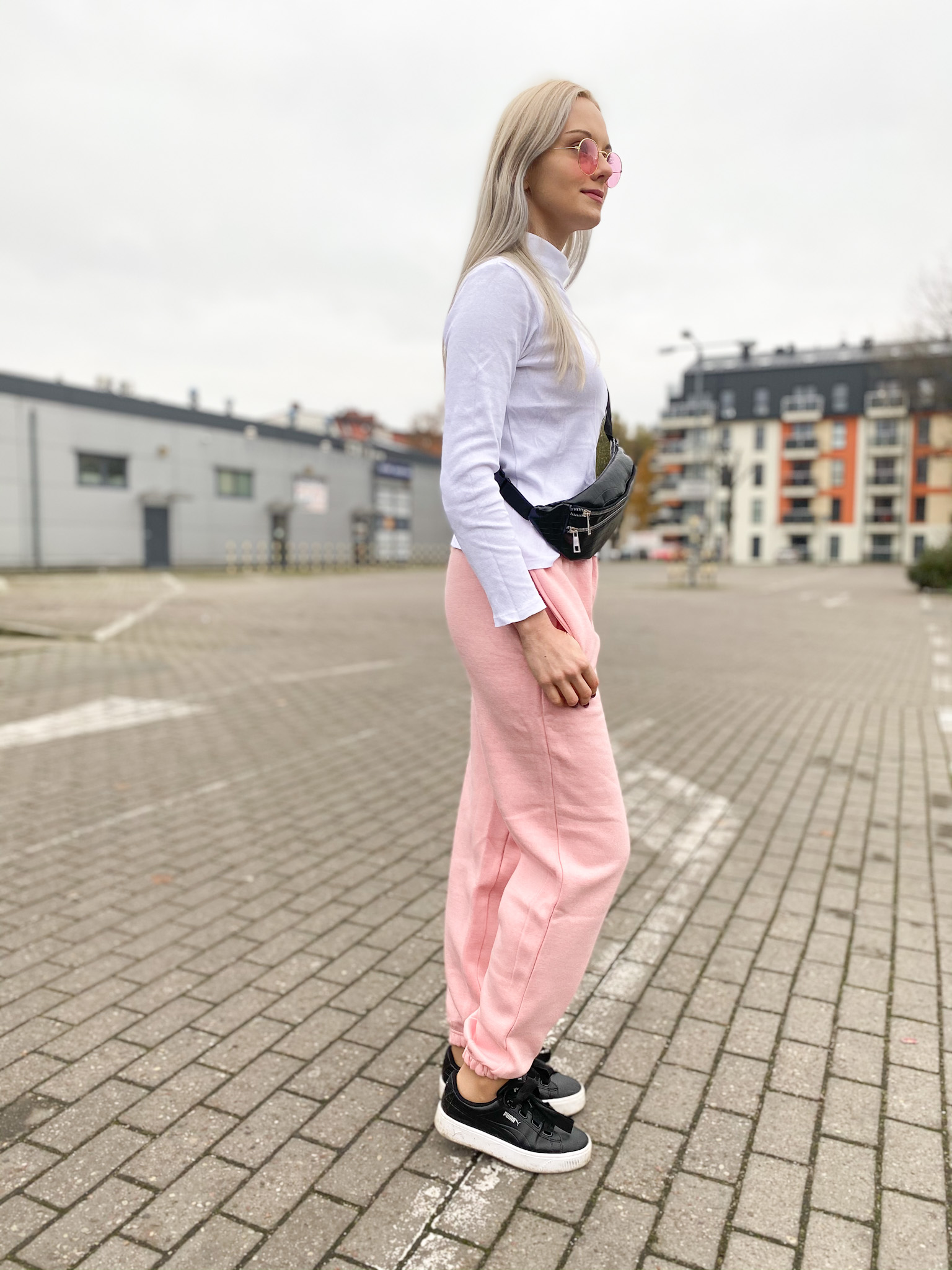 Light Pink Cuffed Joggers - Lizzie