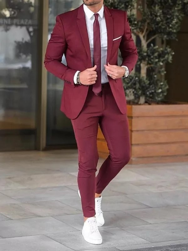 Burgundy colour suit with white shirt