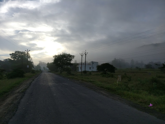 the foggy road near Pawana lake on the way to dudhiware pass