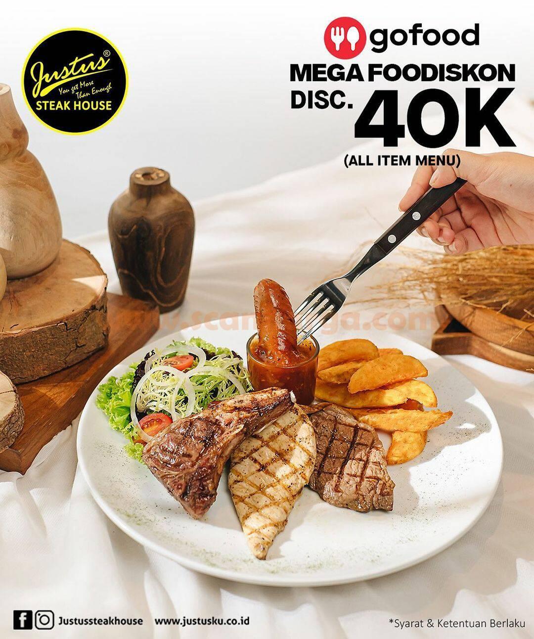 Promo Justus Steak House – Mega FooDiskon Rp 40.000 via GoFood