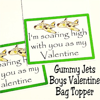 "Let your kids hand out fun classroom valentine's with these printable bag toppers that are free for our newsletter subscribers. These gummy jets are a fun boys valentine as they aren't too ""Lovey Dovey""and are quick and easy to put together,"