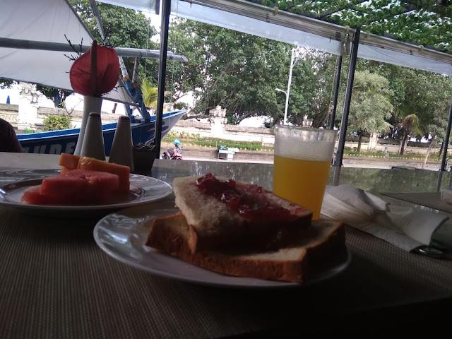 Breakfast in the one of hotel in Kuta Beach while enjoying the beach atmosphere