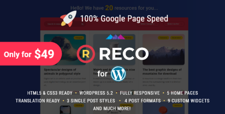 Reco 4.0.5 Nulled Minimal Theme for Freebies