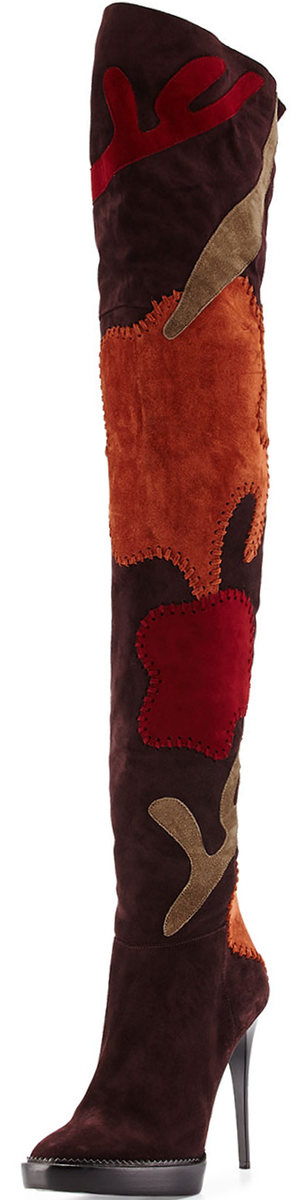 Burberry Allison Patchwork Over-the-Knee Boot, Oxblood