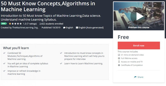 [100% Free] 50 Must Know Concepts,Algorithms in Machine Learning