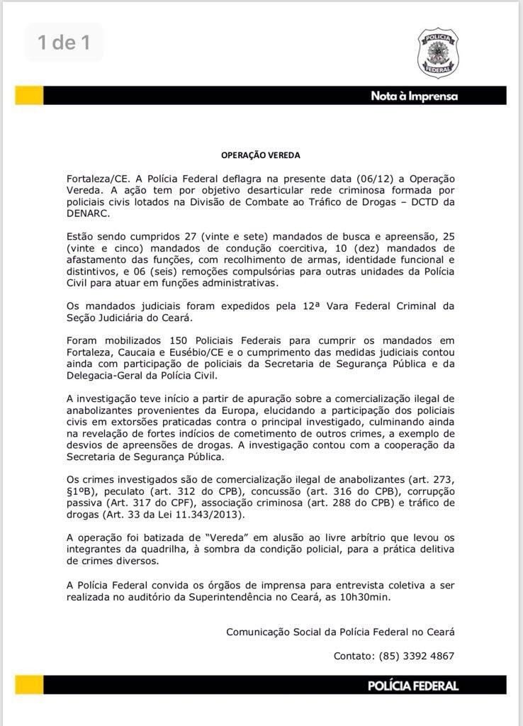 794362c4776f2 PF aplica Operação Vereda no Ceará