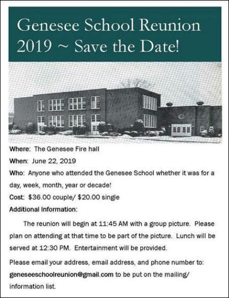 6-10 Registrations due for 6-22 Genesee School Reunion