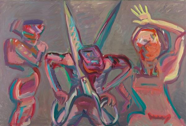 by Maria Lassnig - Uomo che si taglia in due - 1986
