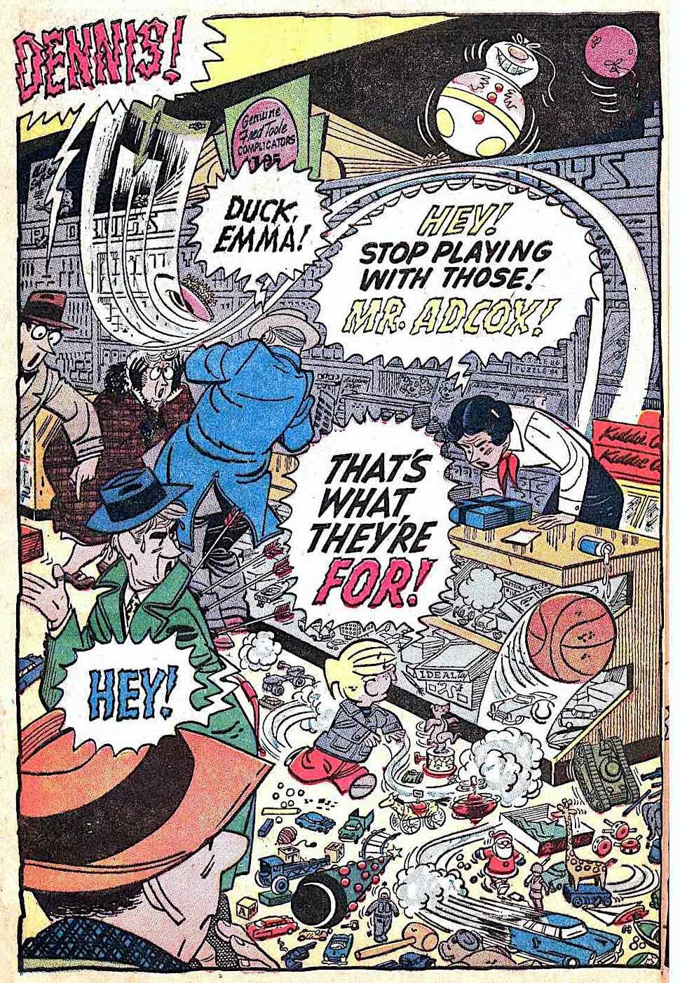 Dennis The Menace by Hank Ketcham 1956, Dennis runs wild in a toy store