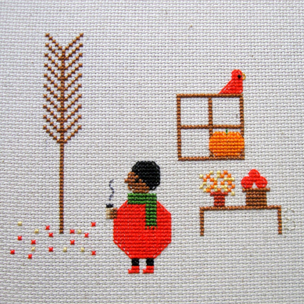 Apple Cider Cross Stitch Pattern by Samantha Purdy Textile featured by floresita on Feeling Stitchy