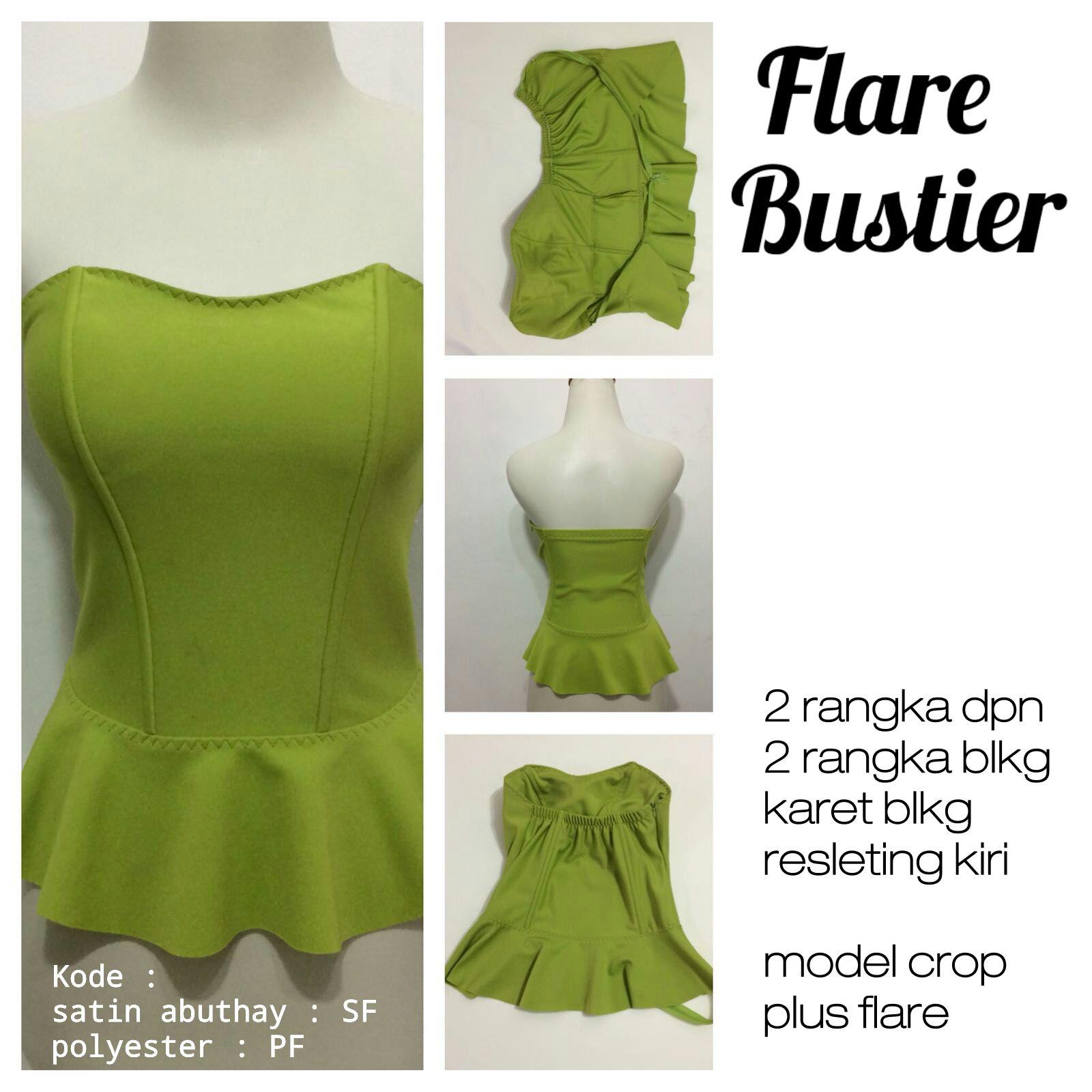 Bustier  jualan bustier murah tulang 4 cup flare hijau lumut polyester 3e04fccb5f