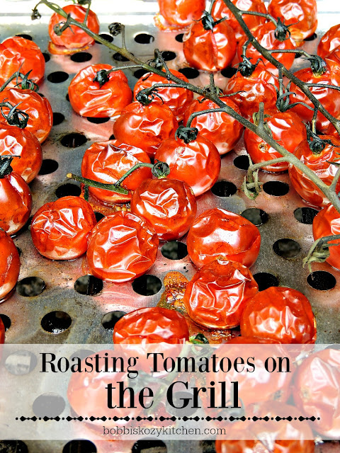 Roasting Tomatoes on the Grill - Give your tomatoes that fire roasted flavor by cooking them on the grill. From www.bobbiskozykitchen.com