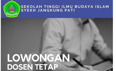 SEKOLAH TINGGI ILMU BUDAYA ISLAM SYEKH JANGKUNG PATI  LOWONGAN DOSEN TETAP PRODI PGMI dan PGPIAUD  ( Open recruitment 4 Maret - 25 Maret 2021 )