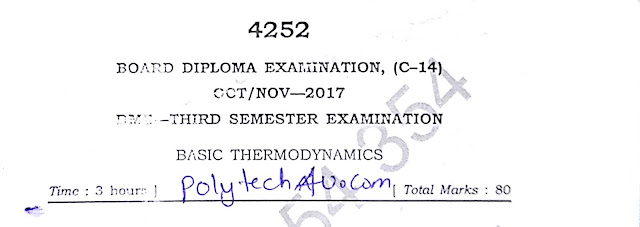 BASIC THERMODYNAMICS PREVIOUS QUESTION PAPER 2017 SBTETAP