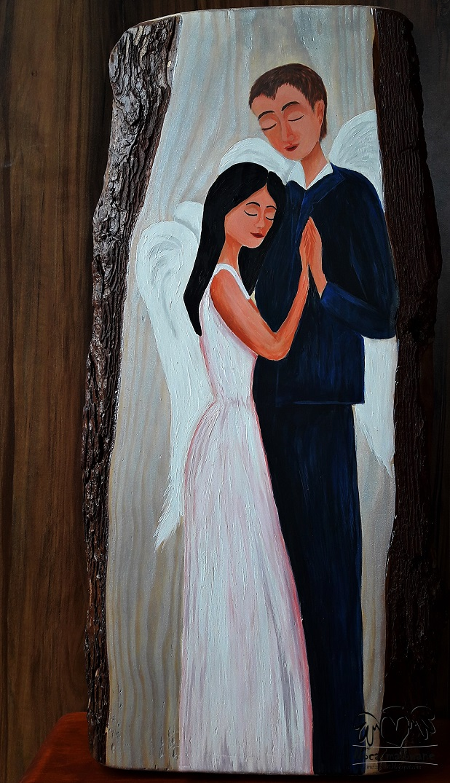 Ślubna para aniołów