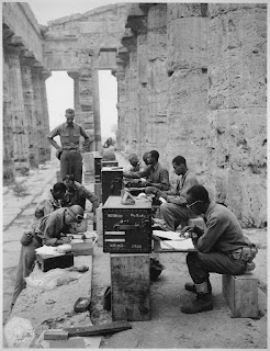 The Americans set up a command centre inside one of the Greek temples at Paestum