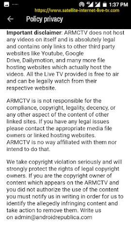 internet live tv free movie streaming app apk ARMCTV Malaysia-privacy policy