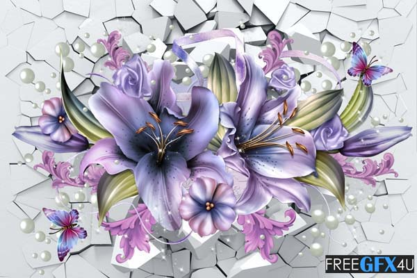 3D Lilies Interior Wall Background