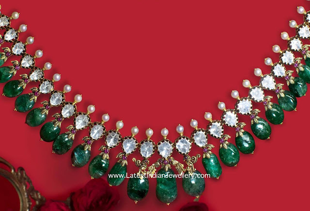 Emerald Drops Elegant Polki Necklace