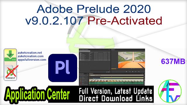 Adobe Prelude 2020 v9.0.2.107 Pre-Activated