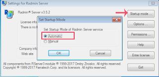 Startup Mode Radmin Server