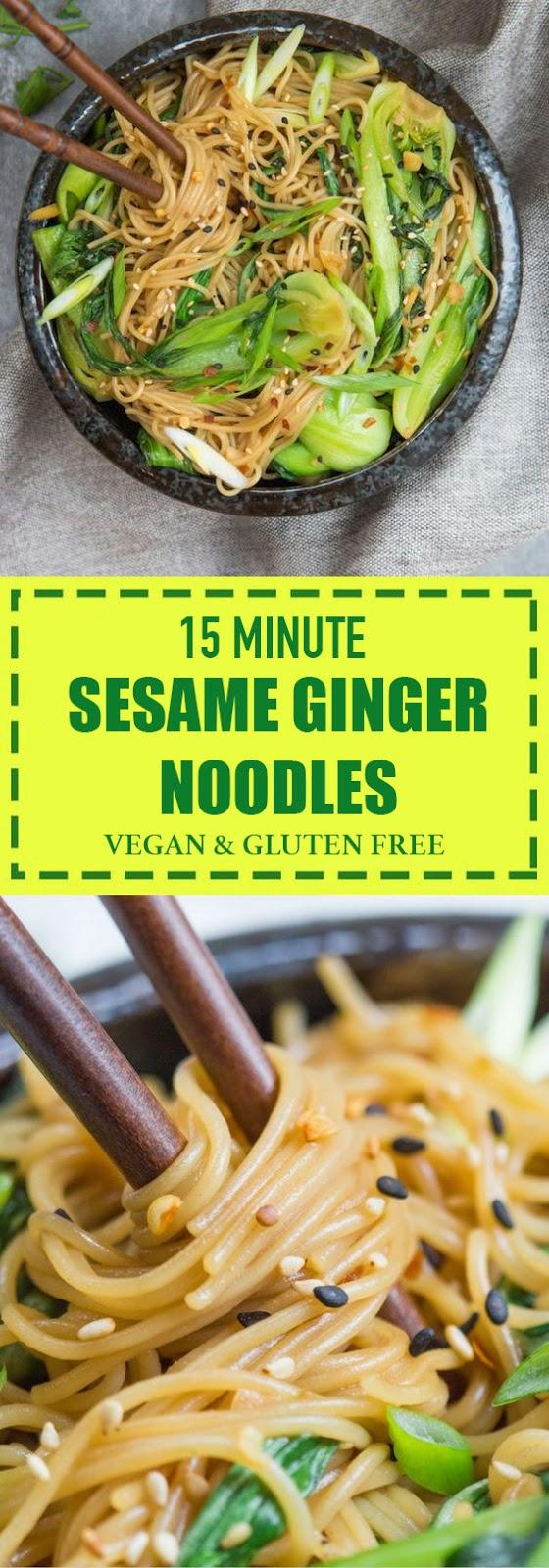 Ready in 15 Minute Sesame Ginger Noodles Vegan & Gluten Free