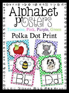 alphabet posters, polka dot print, classroom decor
