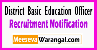 District Basic Education Officer Recruitment Notification 2017 Last Date 10-08-2017.