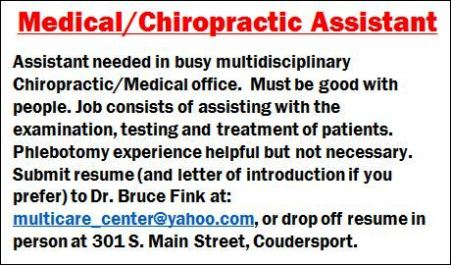 Medical/Chiropractic Assistant Needed