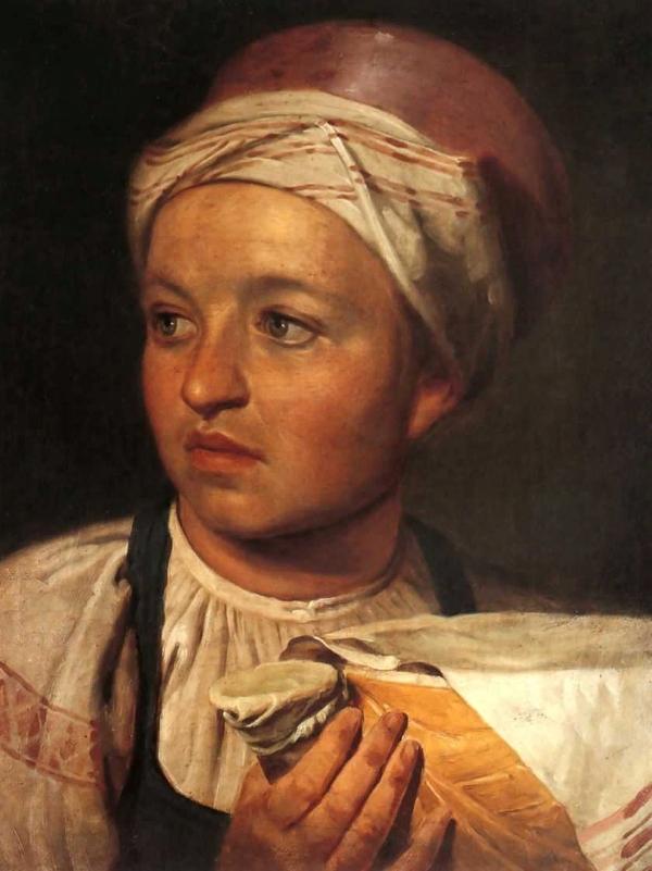 Венецианов Алексей Гаврилович Девушка с крынкой молока